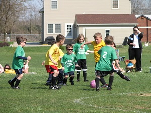 Bucyrus children playing soccer