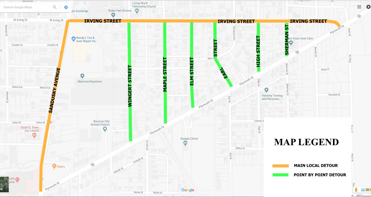 Map of Plymouth Street Detours