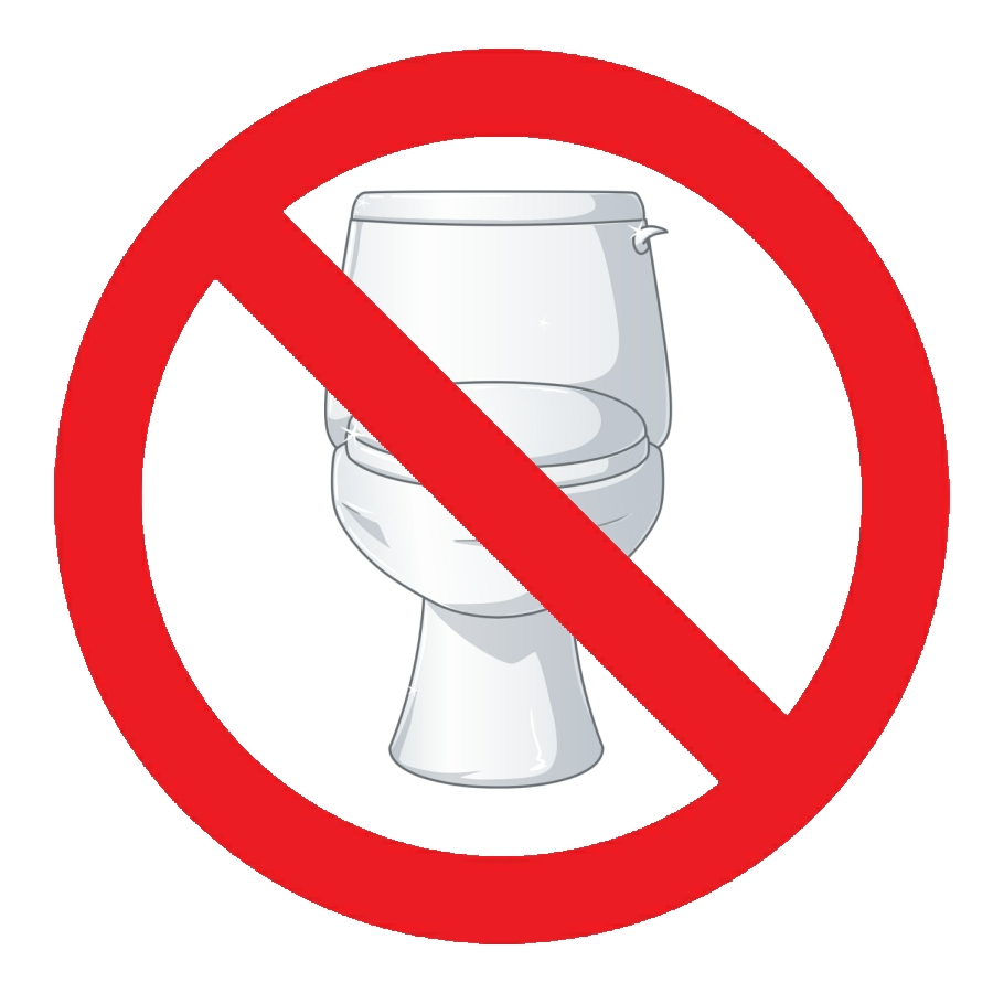 Graphic showing toilet with a No Symbol