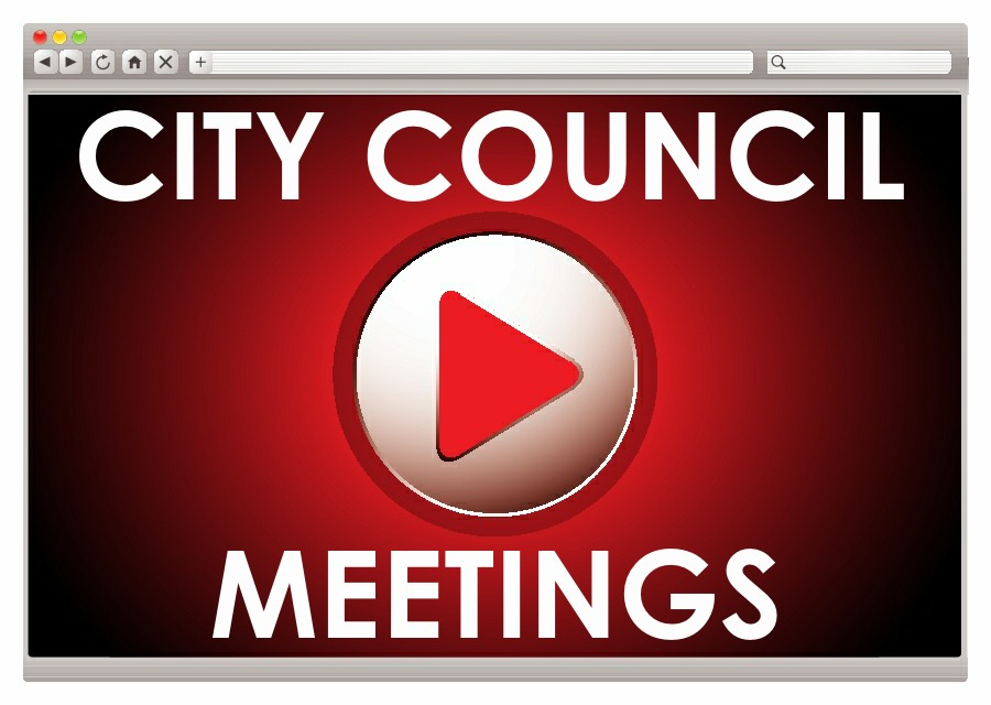 video play icon graphic with text saying City Council Meetings