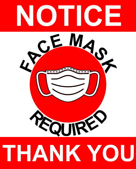 Notice that masks are required at city hall